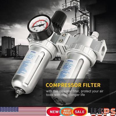 12 Air Pressure Compressor Filter Water Separator Trap Tools W Regulator Gauge