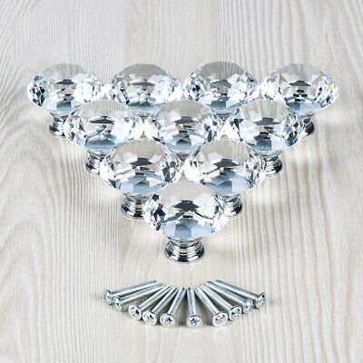- 10Pcs Crystal Glass Clear Door Knob Drawer Cabinet Furniture Kitchen Handle Pull