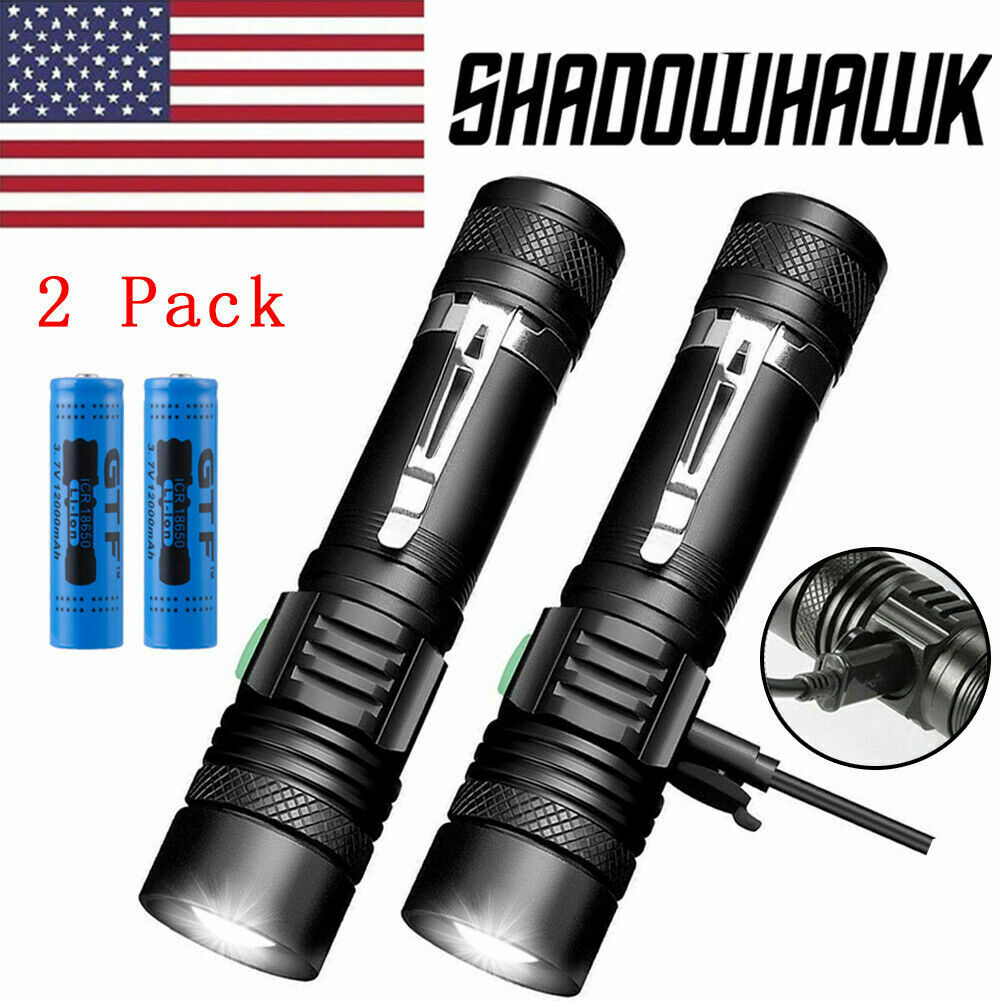 2 PACK 20000lm Shadowhawk Flashlight USB Rechargeable T6 LED