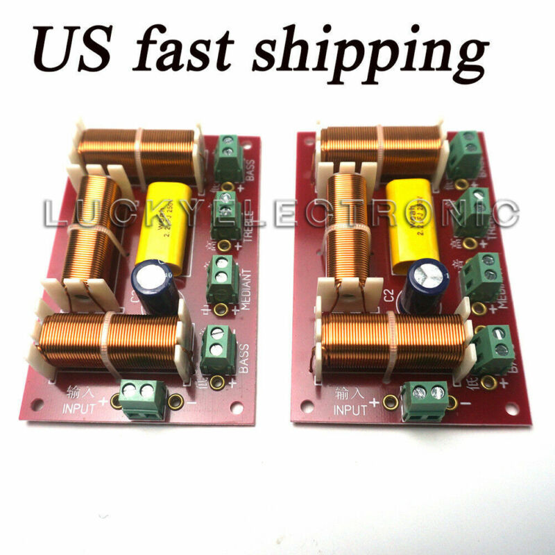 2Pcs  200W 4-Way 3 Way Treble + Midrange + Dual Bass Speaker Crossover Divider