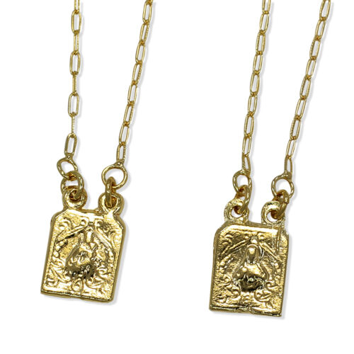Gold Scapular Necklace: Gold Filled 18k Medal Scapular Sacred Heart Jesus Necklace