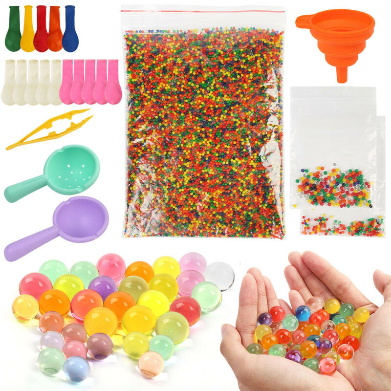 Water Beads Pack Jelly Rainbow Mix Gel Balls for Sensory Play Spa Refill