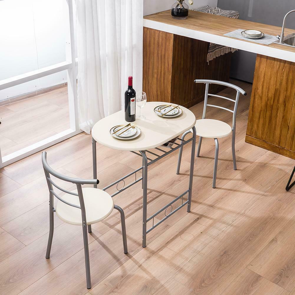 Dinner Table Desk& 2 PVC Chairs Metal Home Kitchen Breakfast