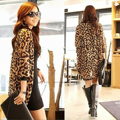 Women's Sexy Batwing Sleeve Leopard Chiffon Shawl Cardigan Casual Coat Fine