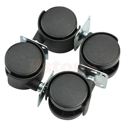 Set Of 4pcs 1 Swivel Plate Caster Nylon Wheel Chair Table Replacement Black