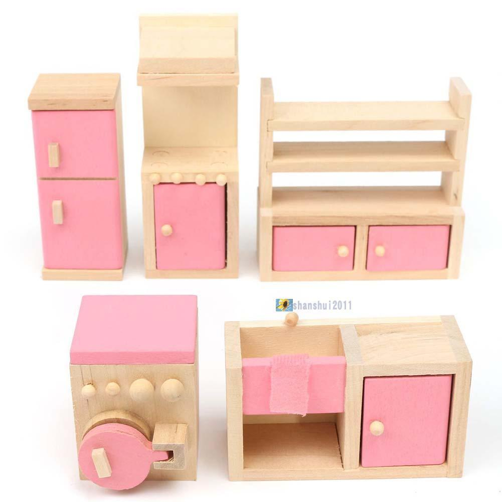 Dolls house furniture wooden set people dolls toys for kids children gift new ga aud Dolls wooden furniture
