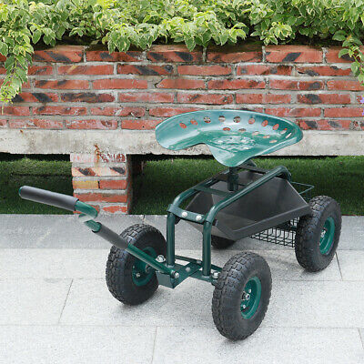 GARDEN PLANTING CART WITH HANDLE ADJUSTABLE SWIVEL SEAT BASKET ROLLING TOOL CART