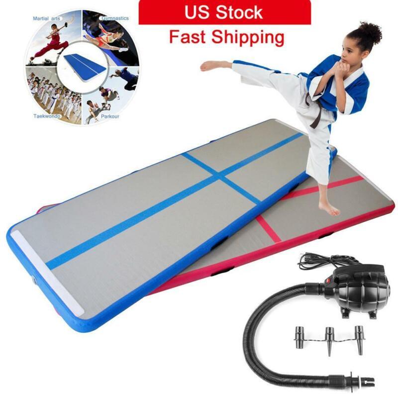 10ft Inflatable GYM Home Yoga Air Track Floor Gymnastics Tumbling Mat + Pump US