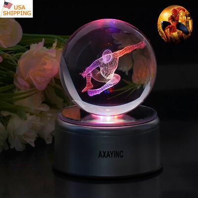 Spider Man 3D LED Crystal Ball Night Light Table Lamp Xmas Christmas Gift 8cm