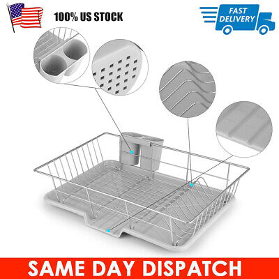 Kitchen Dish Drying Rack Cup Drainer Strainer Cutlery Holder Tray Multi-function