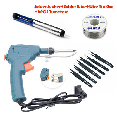 Auto Electric Soldering Iron Gun With Flux Solder Wire Tin Solder Remover Set