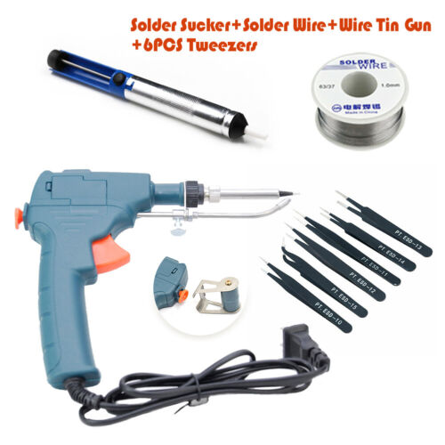 Auto Electric Soldering Iron Gun With FLUX Solder Wire Tin + Solder Remover Set