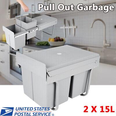 Plastic Pull Out Trash Can Garbage Cabinet Bin Basket Waste Under Sink Lid 30L ()