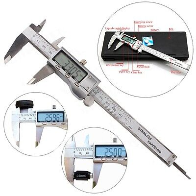6 150mm Stainless Steel Digital Vernier Electronic Caliper Micrometer Guage Lcd