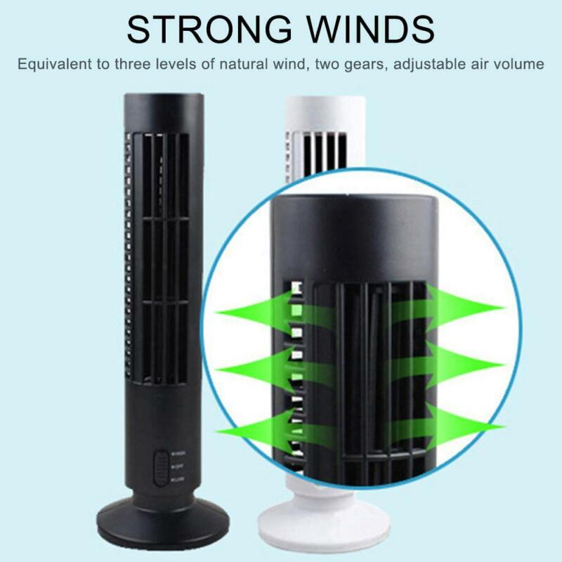 Mini Air Cooling Standing Tower Fan Whole Room Quiet 2 Speed