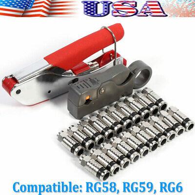F-Type Coax RG6 RG59 Compression Crimping Tool Cable Crimper Connectors US