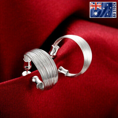 925 Silver Curved Wire Earrings (New 925 Sterling Silver Filled Curved Silver Wire Stud Earrings OZ Free Shipping )