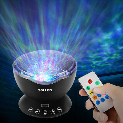 Ocean Wave Music Projector LED Night Light Black Remote Lamp Xmas Kids Gift DE