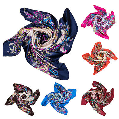 Womens Large Square Silk Fabric Satin Scarf Flower Head Neck Wrap Shawl Welcome Clothing, Shoes & Accessories
