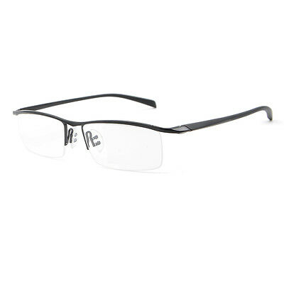 US Stock Mens Titanium Alloy Half Rimless Eyeglasses Frames Optical RX Able New
