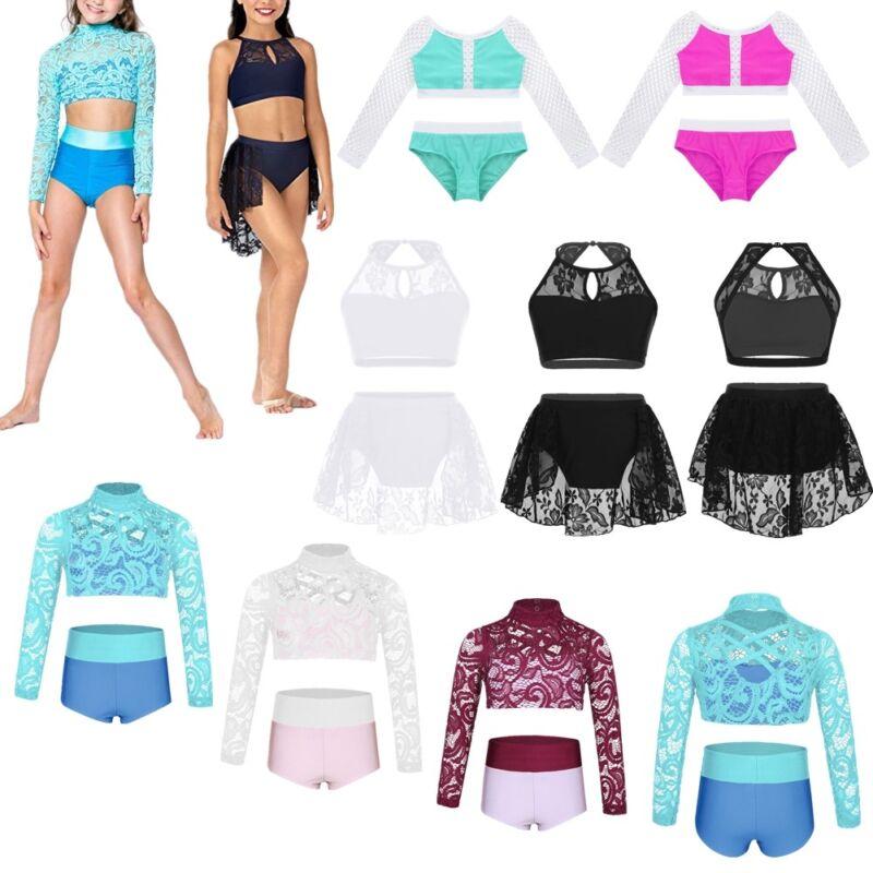 Girls Lyrical Dance Outfit Lace Crop Top+Bottoms Set Modern Dancewear Costume