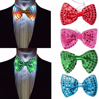 Fashion Mans LED Light Up Flashing Sequin Bowtie Neck Bow Tie Dancing Party Well Clothing, Shoes & Accessories