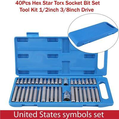 40Pcs Alloy Steel Hex Star Torx Socket Bit Set Tool Kit 1/2inch 3/8inch Drive US 1/2' Drive Hex Bit Socket