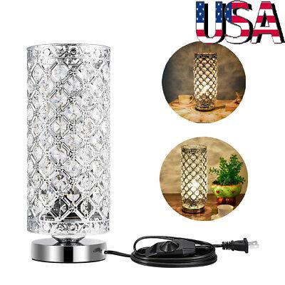 Modern Crystal Table Lamp Desk Bedside Night Light Bedroom Nightstand Home Decor - Decorate Desk