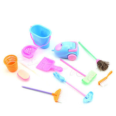 9Pcs/Set Home Furniture Furnishing Cleaning Cleaner Kit For Barbie Doll House