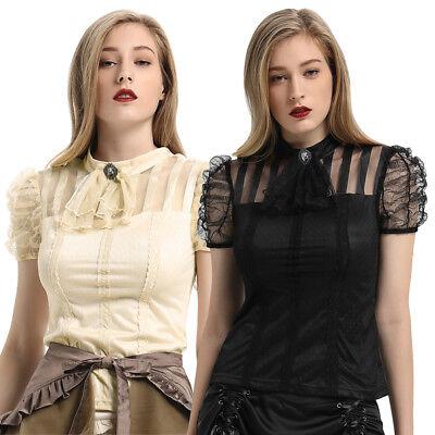 2019 Punk Gothic Steampunk Uniform Kurzarm Shirt Bluse Tops Für Frauen Gr. S-2XL ()