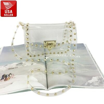Transparent PVC Purse Clear Handbag Shoulder Bag Gold-Color - Gold Gloss Bag