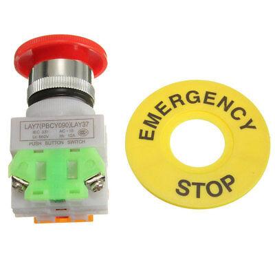 Red Mushroom Cap Emergency Stop Shut Off Switch Push Button E-stop Switch Striki