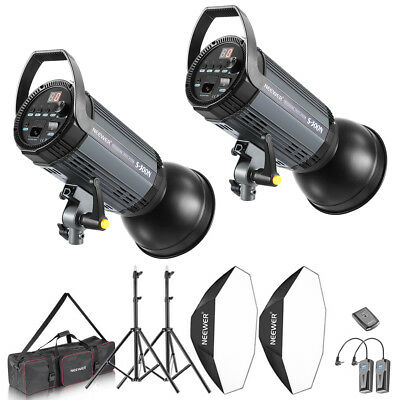 Neewer 600W Photo Studio Strobe Flash and Softbox Lighting Kit w/ Modeling Lamp