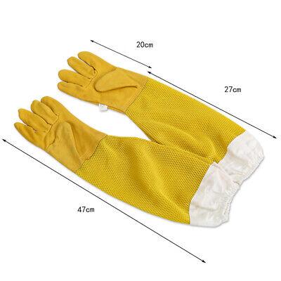 2pc Beekeeping Gloves Goat Skin Bee Keeping Vented Beekeeper Long Sleeves Xl New