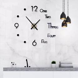 28'' DIY Large Wall Clock Big Watch Decal 3D Stickers Roman Numerals Modern USA