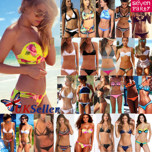 UK Sexy Womens Push Up Bikini Set Beach Swimwear Triangle Bra Bathing Swimsuit