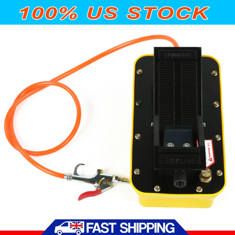 Air Hydraulic Foot Pump Pedal 10000 PSI Hose & Coupler Auto shop press fram USA