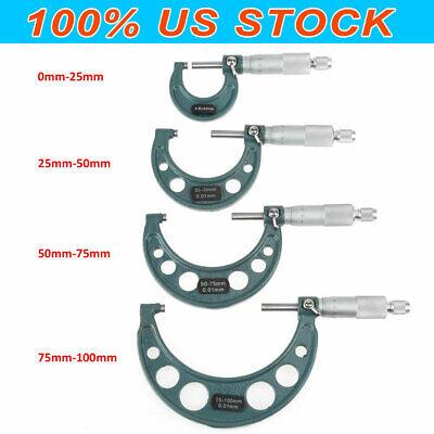 4 Pcs 0-100mm0-4 Metric Outside Micrometer Set Machinist Tool Carbide Us Stock