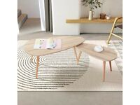 Triangle Solid Wood Coffee Table Set Nest of 2 Tables Morden Sofa Coffee Side Table for Living Room