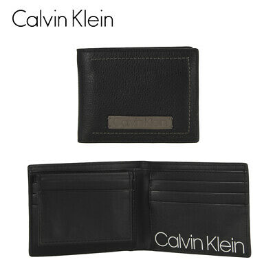 Calvin Klein Black/Grey Bifold Wallet Passcase One Size Clothing, Shoes & Accessories