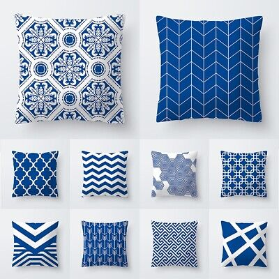 "18"" Polyester Pillow Case Sofa Car Waist Throw Cushion Cover Home Decor Blue"