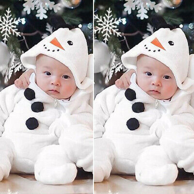 US Infant Baby Boy Girl Christmas Snowman Cosplay Costume Romper Jumpsuit Outfit Baby Snowman Infant Costume