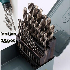 Professional 25Pc HSS High Speed Steel Metal Drill Bit Set Tool 1mm-13mm + Case