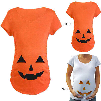 Pregnant Women Maternity Prank Halloween Pumpkin Carved Face T-shirt Top Clothes - Maternity Halloween Top
