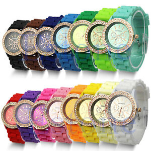 Geneva-Silicone-Golden-Crystal-Stone-Quartz-Ladies-Women-Girls-Jelly-Wrist-Watch