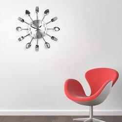 Modern Design Cutlery Kitchen Utensil Wall Clock Spoon Fork Clock Sliver
