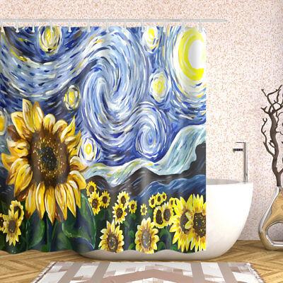 Sunflower Oil China - Bathroom Shower Curtain Sunflower Oil Painting Art Decor Bath Curtains +12 hooks