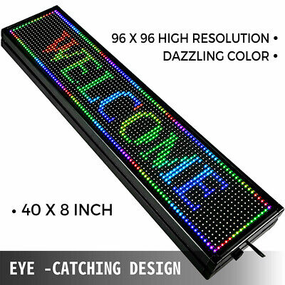40x8 Indoor Led Sign Business Sign Full Color Programmable Message Board New