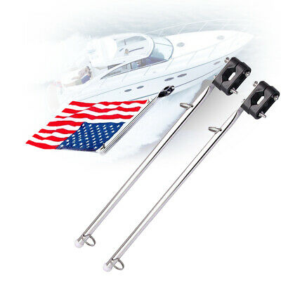 "Pair Boat Deck Flag Pole 15-1/4"" Marine S/S Hardware Fit to 7/8""-1"" Rail Mount"