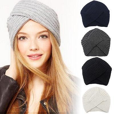 Crochet Winter Beanie - Women Winter Beanie Knitted Wool Crochet Headband Hairband Turban Headwrap Hat